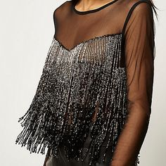 Black bead embellished fringed crop top - going out tops - tops - women