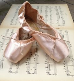 Pink Silk English Pointe Ballet Slippers by TheDoveCoteBrocante