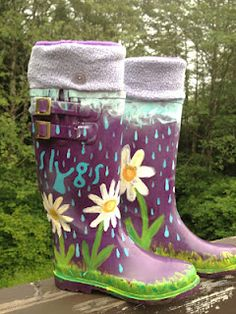 DIY Paint Your Rain Boots. Jazz up your old boring rain boots with a custom paint job!