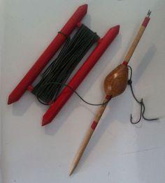 Vintage Old Drop Line Fishing Wooden Painted Bobber And Line Holder
