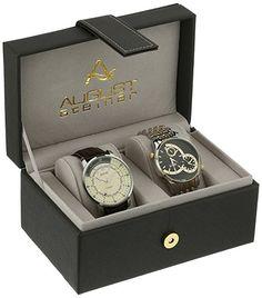 Amazon.com: August Steiner AS8199TTG Watch with Black, White/Black, Cream Dial and Two Tone, Brown Bracelet. #affiliate, #watchforhim, #mensgiftideas