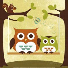 Deux hibous sur une balançoire Art par Nancy Lee sur AllPosters.fr