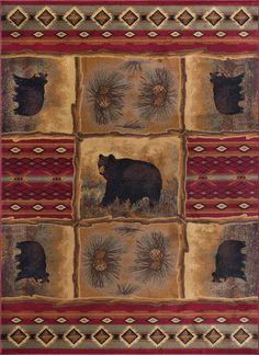 New Sierra Bear Novelty Lodge Pattern Red Rectangle Area Rug, x online shopping - Chicideas Bear Rug, Pine Cone Decorations, Rectangle Area, Vivid Imagery, Lodge Decor, Red Rugs, Carpet Runner, Throw Rugs, Woven Rug