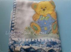 fralda ursinho pintura em tecido com patch colagem