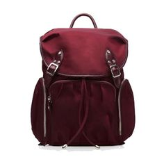 MZ Wallace Marlena Backpack - Maroon Bedford (1.255 BRL) ❤ liked on Polyvore featuring bags, backpacks, multicolor, leather drawstring backpack, leather rucksack, leather bags, real leather backpack and backpack bags