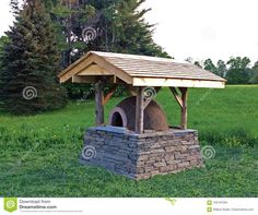 Earth Oven With Stone Foundation And Cedar Roof Stock Photo - Image of constructed, rural: 102197584