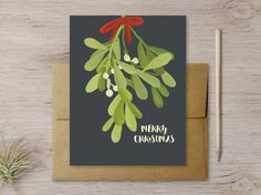 Wish them Merry Christmas with this illustrated mistletoe card! CARD: A2 (folded…