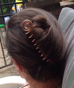 Copper hair screw for a bun or french twist by TheSalvagedEdge