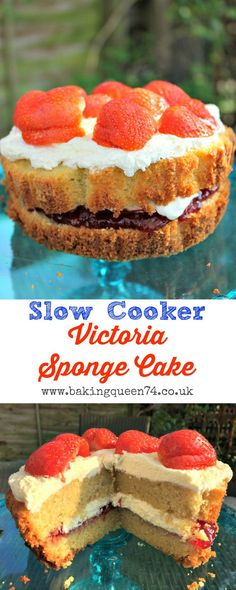 Did you know you can use your crockpot to bake? Make a slow cooker Victoria sponge cake and enjoy it for a traditional afternoon tea or an anytime treat Slow Cooker Cake, Slow Cooker Desserts, Slow Cooker Recipes, Crockpot Recipes, Baking Recipes, Cake Recipes, Dessert Recipes, Victoria Sponge Cake, Strawberry Recipes