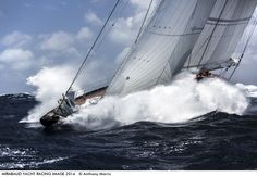 Photo by Anthony Morris - The shot 'The Mighty J-Class Rainbow', taken during the 27th Antigua Classic Yacht Regatta 2014 in extreme challanging c... - J-Class Rainbow racing at the 27th Antigua Classic Yacht Regatta 2014, 24knot winds with 3-4 metre rolling waves / a tough assignment.