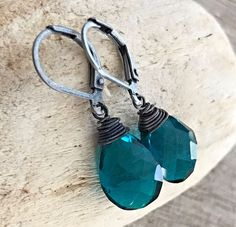 Min Favorit Peacock Teal Hydroquartz Briolette & Ox Silver Artisan Wrap Earring  #minfavorit #DropDangle