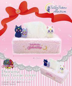 Sailor Moon Luna, Artemis & Diana Plush Tissue Box Cover... Weird but cute