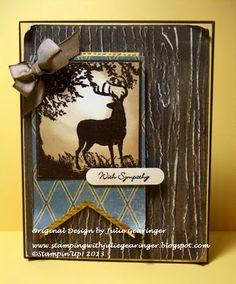 "FRIDAY, MAY 24, 2013  CAS Sympathy for a Close Friend | Stamp Sets:  Nature Silhouettes, Teeny Tiny Wishes    Ink: Versamark™, Crumb Cake, Early Espresso, Soft Suede    Paper: Early Espresso, So Saffron, Whisper White, Well Worn DSP    Accessories:  Embossing Buddy®, Stampin' Emboss® Early Espresso Embossing Powder, Heat Tool, Big Shot™, Woodgrain and Square Lattice Textured Impressions™ Embossing Folders, Punches- 1 1/4"" Circle, Word Window, Soft Suede Taffeta Ribbon, Sponge Daubers"