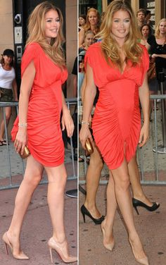 When looking for dresses, the key is shape and texture. Look for rushing, notice the small capped sleeve, pay attention to the neckline.  Doutzen Kroes' maternity fashion.