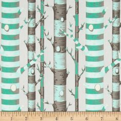 Tula Pink Bumble Forest Stripe Jade from @fabricdotcom  Designed by Tula Pink for Free Spirit, this cotton print is perfect for quilting, apparel and home decor accents.  Colors include cream, shades of grey and shades of green.  This stripe is printed parallel to the selvedge.
