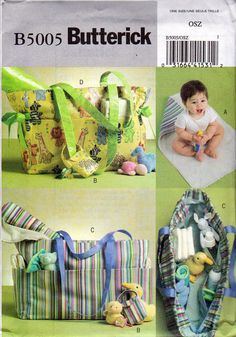 Diaper bag Pattern, Changing Pad Pattern, Pacifier Case Sewing Pattern, 2 Styles of Diaper Bag, Butterick 5005.