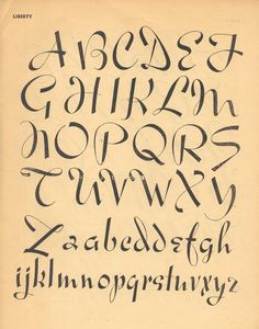 Liberty, vintage script alphabet, 100 Alphabets Publicitaires, 1946
