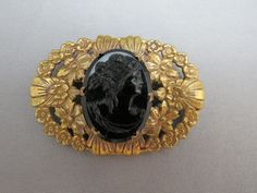 Antique VTG Cameo Brooch Black Glass Large Ornate Open Work Brass Flower Floral #Unbranded