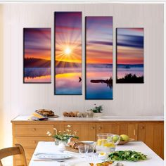 2015 New Oil Painting 4 Pictures Combined Oil Painting On Canvas Colorful Sunset Glare Decorative Painting Wall Art Pictures, Canvas Pictures, Pictures To Paint, Panel Wall Art, Canvas Wall Art, Wall Art Prints, Popular Paintings, Cheap Paintings, Purple Painting