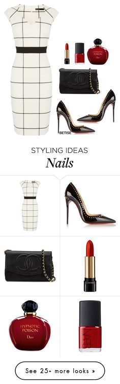 """WHITE & BLACK !!!"" by betty-sanga on Polyvore featuring Karen Millen, Christian Louboutin, Chanel, Lancôme, NARS Cosmetics and Christian Dior"