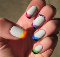 Eva of the blog Flight of Whimsy created this multicolored French design that allows you to use all your untried polishes in one manicure!, Fun French Manicure, Nail Art, Cool Nail Designs, Colorful, Nail Trends, Nail It! Magazine