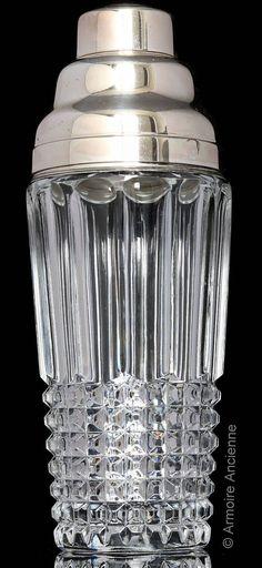 BUY on ETSY: Vintage large three-piece diamond-cut lead crystal cocktail shaker