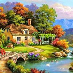 Paisajes in 2019 Beautiful Paintings, Beautiful Landscapes, Kinkade Paintings, Beautiful Places, Beautiful Pictures, Cottage Art, Thomas Kinkade, Nature Wallpaper, Nature Pictures