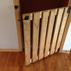 "Check out this project on RYOBI Nation - Needed a baby gate for the top of our basement stairs. I took out the existing basement door, and placed a 29"" by 36"" wooden baby gate. Made from 1x4 common boards, sanded it down, stained it Golden Oak, screwed it together with 1.25"" wood screws, used a gate latch also."