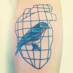 """My newest acquisition. Forearm tattoo based on the poem """"Bluebird"""" by Charles Bukowski. Original design by moi."""