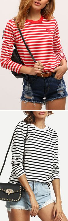 Long sleeve striped t-shirt. Spring Outfits For School, College Outfits, Fall Outfits, Cute Outfits, Striped Shirts, Striped Socks, Swag Shirts, Preppy Style, My Style
