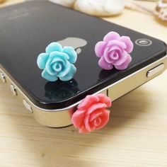 11 Colors Cute Sweet Romantic Sweet Little Rose Flower Anti Dust Plug 3.5mm Smart Phone Dust Stopper Headphone Jack Earphone Cap Dustproof Plug Charm iPhone 4 4S 5 5S HTC Samsung Ipad 2 3 4 5 Mini Ipod Blackberry Sony Cute Gift (Blue Purple Red) Phone Charms/Dust Plugs