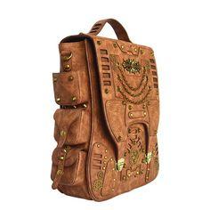 6725a3320c PU Leather Retro Steampunk Backpack