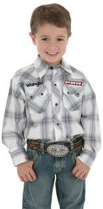 Wrangler Boys PBR Bull Riding White Gray Plaid Western Snap Shirt