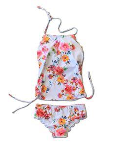 Hallie Scalloped Tankini - Floral - $52