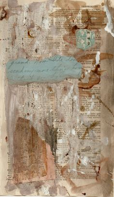 abstract mixed media on vintage dictionary book page using cement, textured gel medium, antique handwritten letter by paperwerks on Etsy #etsy