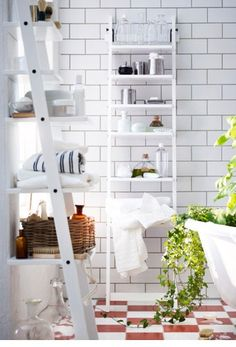 HJÄLMAREN Ladder Style Bathroom Shelving Will Help You Get Things Organized  With Its Form ( · Ikea Ladder ShelfWhite ...