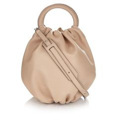 Loewe Bounce leather bucket bag ($1,702) ❤ liked on Polyvore featuring bags, handbags, shoulder bags, light beige, top handle leather handbags, top handle handbags, leather shoulder handbags, beige leather purse and genuine leather handbags