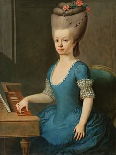 1760-1770 Slovak painter of the second half of the 18th century - Portrait of girl in blue in front of harpsichord