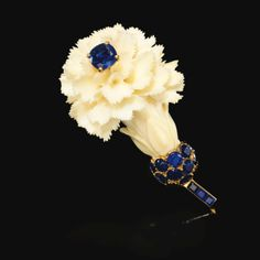 Ivory and sapphire brooch, Cartier, 1950s | Lot | Sotheby's