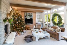 A fabulous family room, especially during the holiday season, is accented by a kudu mount from Architectural Heritage.