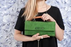 Green Leather Clutch / Women Purse / by EllenRubenBagsShoes