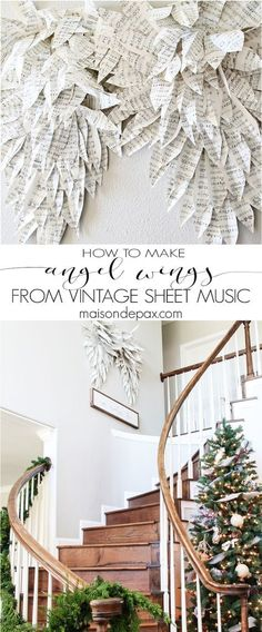 Music Angel Wings How to make angel wings from vintage sheet music. How to make angel wings from vintage sheet music. Christmas Angels, All Things Christmas, Christmas Home, Vintage Christmas, Christmas Holidays, Christmas Wreaths, Christmas Crafts, Xmas, Christmas Poinsettia