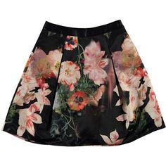 Ted Baker Paladia Opulent Bloom Skirt (4,590 THB) ❤ liked on Polyvore featuring skirts, mini skirts, bottoms, saias, faldas, black, floral mini skirt, ted baker skirt, floral skirt and full floral skirt