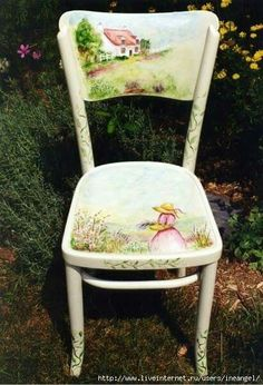 60 great ideas for Decoupage on chairs! Hand Painted Chairs, Hand Painted Furniture, Funky Furniture, Paint Furniture, Repurposed Furniture, Furniture Makeover, Furniture Decor, Tole Painting, Painting On Wood