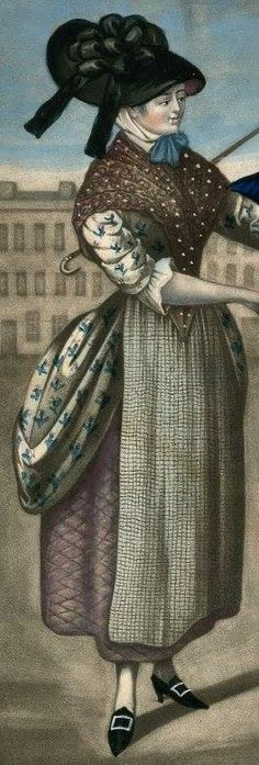 1781, The Sailor's Pleasure (detail) at The British Museum Wm Booth Draper | Print Polonaise, dotted fichu/wrap, check apron, quilted petticoat, black silk hat, cap tied under chine