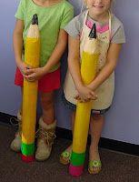 Art Projects for Kids: Giant Paper Mache Pencils  -- utiliser des rouleaux de papier essuie-tout et des verre en papier en forme de cône