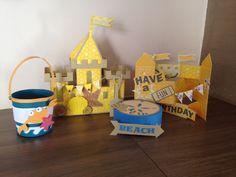 Beach Theme - Sand castle bucket and spade, shell box and birthday card @svg