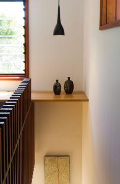 Prefab Hawthorn Studio by Third Skin (via Lunchbox Architect) Louvre Windows, Prefab, Open Plan, Pendant Lighting, Architecture Design, Dining Table, Shelves, Lights, Interior Design