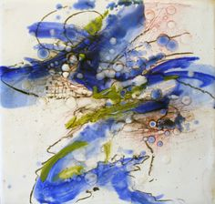"""Flying Helix, 8"""" x 8"""", Encaustic, Copyright Gayle Curry, $175"""