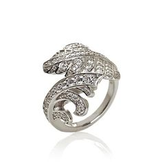 """Jean Dousset .99ct Absolute™ Pavé """"Feather"""" Bypass Ring at HSN.com"""